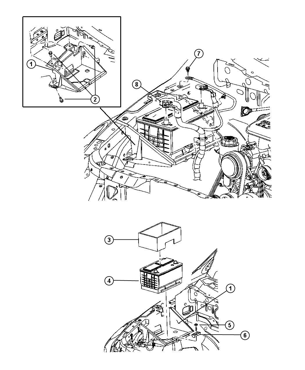 Diagram Battery Tray and Cables. for your 2006 Dodge Ram 2500