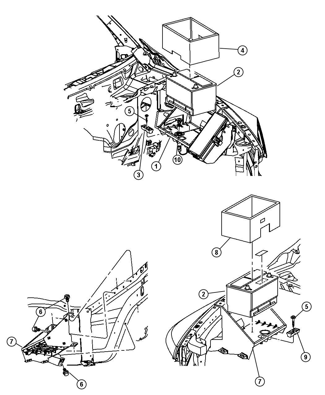 Diagram Battery Tray and Support. for your 2006 Dodge Ram 2500